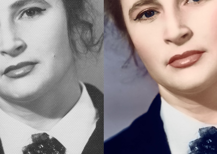 Убираем тиснение и оцветняем старую фотографию Фрагмент до и после