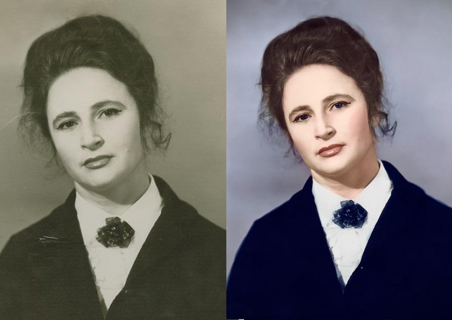 Убираем тиснение и оцветняем старую фотографию До и после