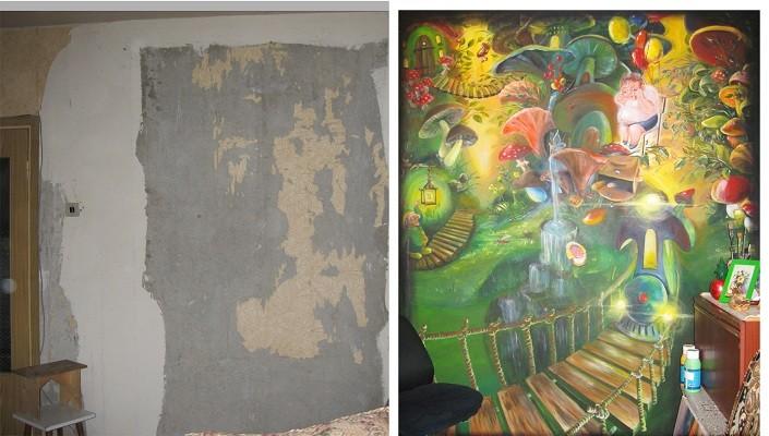 Роспись стены. Сравнение до и после.